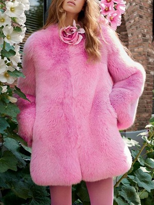 Long Sleeve Casual Fluffy  Fur and Shearling Coat_5