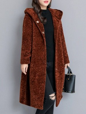 Buttoned Long Sleeve Hoodie Fur And Shearling Coats_1