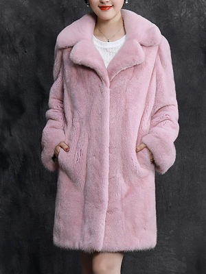 Shawl Collar Casual Long Sleeve Fur and Shearling Coat_2