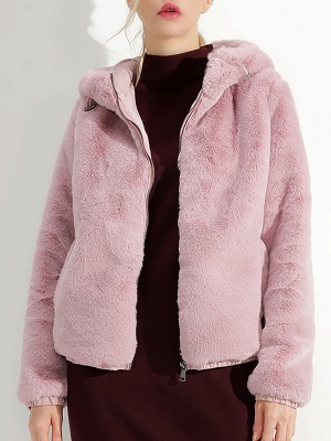Fluffy Solid Hoodie Pockets Fur And Shearling Coats_2