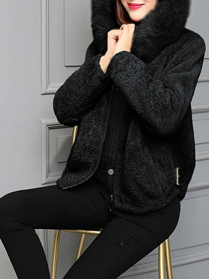 Pockets Zipper Hoodie Fluffy Fur and Shearling Coat_2