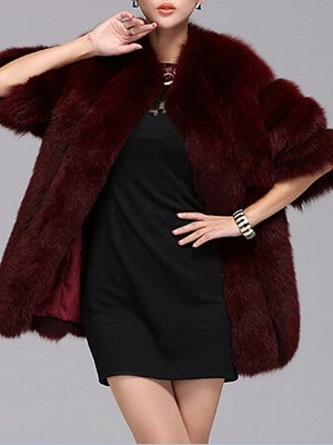 Long Sleeve Casual Solid Paneled Fur and Shearling Coat_4
