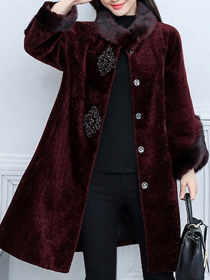 Long Sleeve Beaded Solid Buttoned Fur And Shearling Coats_10