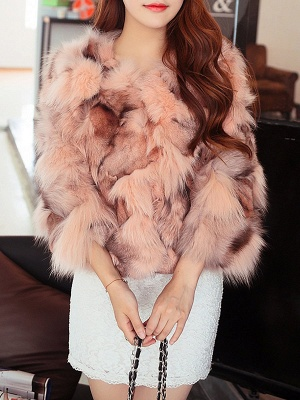 3/4 Sleeve Paneled Fluffy  Fur and Shearling Coat_1