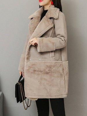 Lapel Long Sleeve Shift Solid Fur And Shearling Coats_9