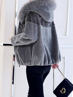 Hoodie Long Sleeve Zipper Fur And Shearling Coats_4