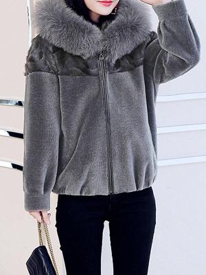Hoodie Long Sleeve Zipper Fur And Shearling Coats_2