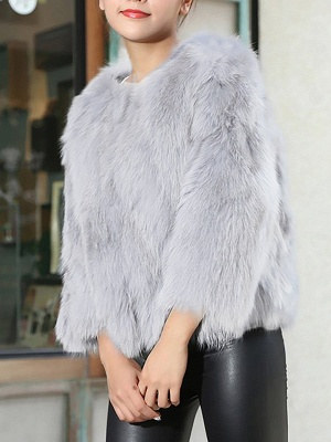 Crew Neck Fluffy Solid Fur and Shearling Coat_9