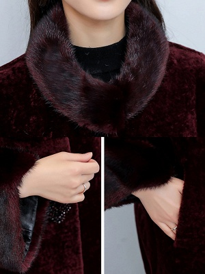 Long Sleeve Beaded Solid Buttoned Fur And Shearling Coats_8