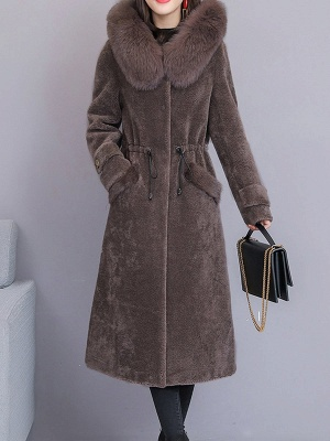 Hoodie Solid Long Sleeve Casual Fur And Shearling Coats_2