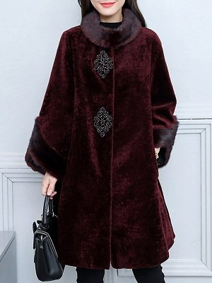 Long Sleeve Beaded Solid Buttoned Fur And Shearling Coats_1