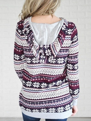 Ethnic Style Snowflake Printed Long Sleeves Hooded Christmas Fleece Hoodies for Women_6