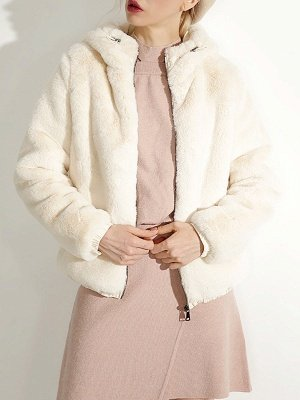Fluffy Solid Hoodie Pockets Fur And Shearling Coats_13