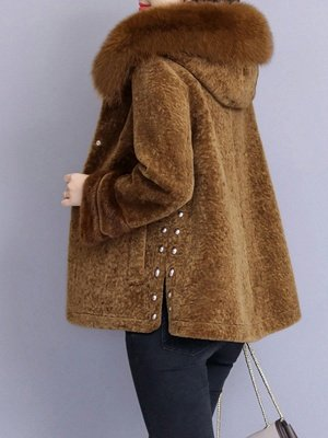 Beaded Slit Hoodie Fur And Shearling Coats_4
