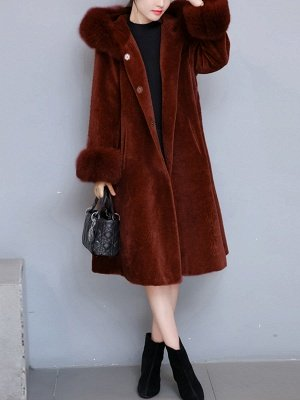 Casual Long Sleeve Hoodie Fur and Shearling Coat_1