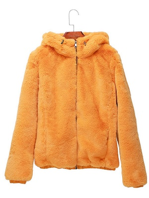Fluffy Solid Hoodie Pockets Fur And Shearling Coats_10