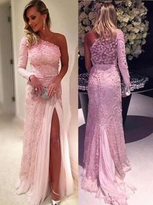 Split Lace Long-Sleeve Elegant Pink Evening Dresses_2