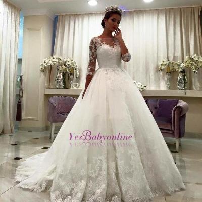 Lace Bateau Ball-Gown Half-Sleeve Appliques Chapel-Train Wedding Dresses_1