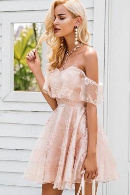 Cute Pink Homecoming Dresses Off-the-Shoulder Short Graduation Dress_5