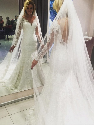 V-Neck Long Sleeves Open Back Lace Mermaid Wedding Dresses_2