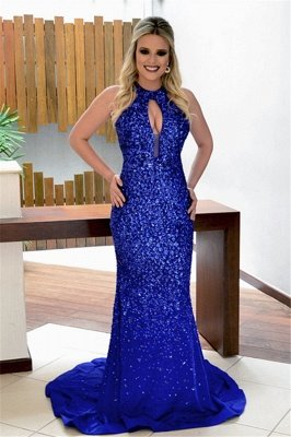 Blue Mermaid Crystal Back Rpyal Open Keyhole Sleeveless Evening Gown_2
