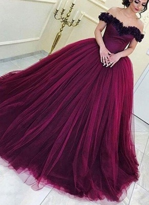 Long Appliques Sleeveless Tulle Ball-Gown Off-the-Shoulder Prom Dresses_2