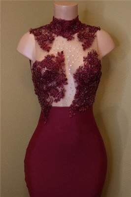 Sexy Rose Flowers Prom Dresses   Sleeveless Sheer Mermaid Evening Gowns_3