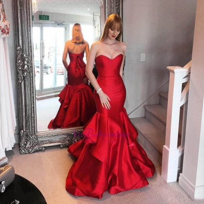 Ruffles Tiered Elegant Red Sweetheart Mermaid Prom Dresses_3
