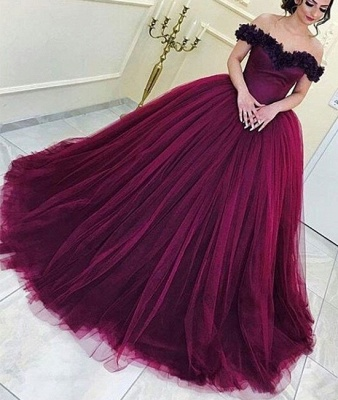 Long Appliques Sleeveless Tulle Ball-Gown Off-the-Shoulder Prom Dresses_3