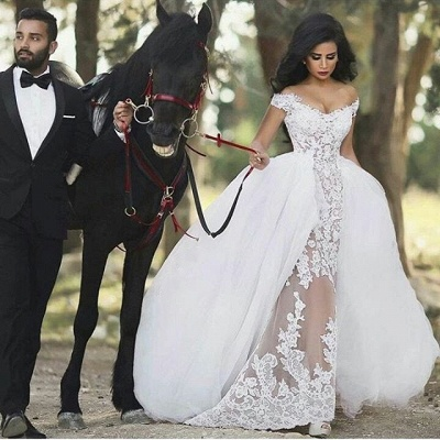See Through Glamorous Off-the-Shoulder Overskirt Lace Detachable Wedding Dresses_3