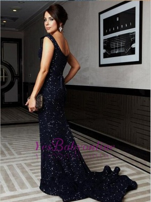 Sweep-Train Mermaid Cap-Sleeve Bow Gorgeous Sequined Prom Dress_1
