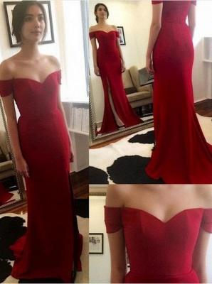 New Off-the-Shoulder Side-Slit Mermaid Red Elegant Prom Dress_2