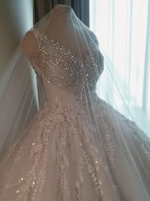 Straps V-neck Crystal Ball Gown Wedding Dresses with Lace_1