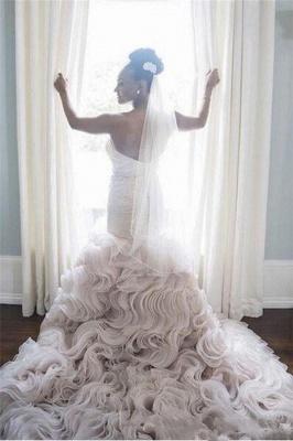 Open-Back Sweetheart Ruffles Court-Train Sheath Organza Wedding Dress_3
