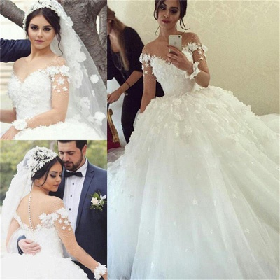 Ball-Gown Appliques Long Sleevess Stunning Wedding Dress_3