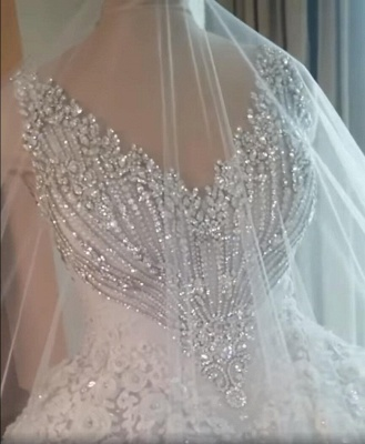 Straps V-neck Crystal Ball Gown Wedding Dresses with Lace_4