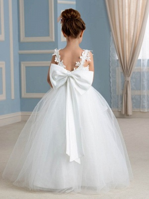Lovely A-Line Tulle Lace Straps Sleeveless Bowknot Flower Girl Dress with Appliques_3