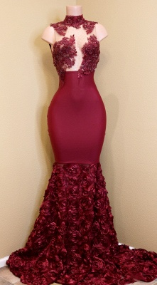 Sexy Rose Flowers Prom Dresses   Sleeveless Sheer Mermaid Evening Gowns_1