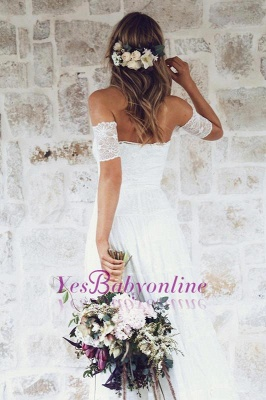 Glamorous Lace Summer Long Short-Sleeve Beach Wedding Dress_1