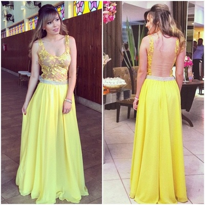 Lace Floor-length Hollow Yellow A-line Straps  Elegant Prom Dress_2