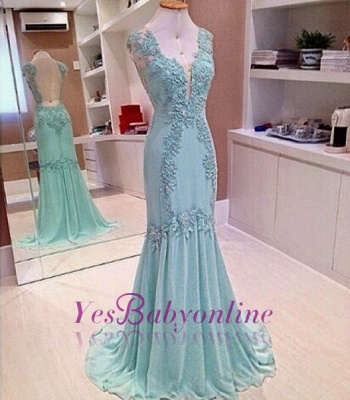 Appliques V-Neck Sleeveless  Mermaid Open-Back Elegant Prom Dress_1
