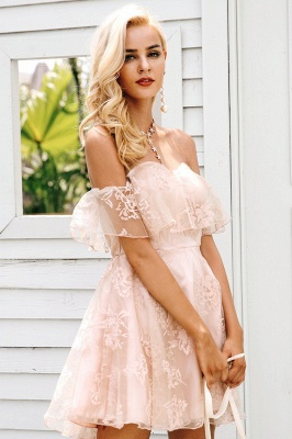 Cute Pink Homecoming Dresses Off-the-Shoulder Short Graduation Dress_6