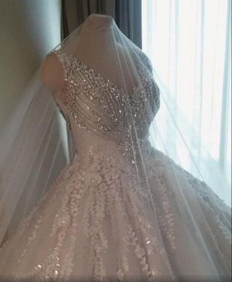 Straps V-neck Crystal Ball Gown Wedding Dresses with Lace_5