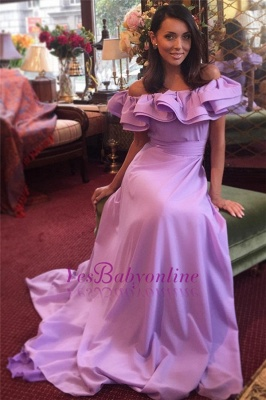 Off-The-Shoulder Elegant Ruffles Long Cheap Lavender Evening Dress_2