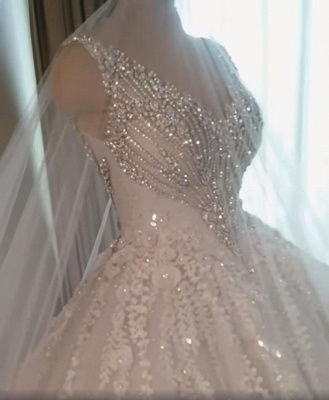 Straps V-neck Crystal Ball Gown Wedding Dresses with Lace_3