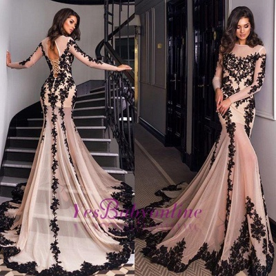 Long-Sleeves Mermaid Sexy Sheer Nude Lace-Appliques Black Evening Gowns_1