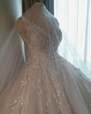 Straps V-neck Crystal Ball Gown Wedding Dresses with Lace_6