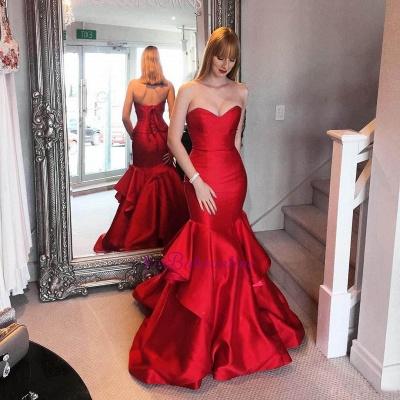 Ruffles Tiered Elegant Red Sweetheart Mermaid Prom Dresses_3