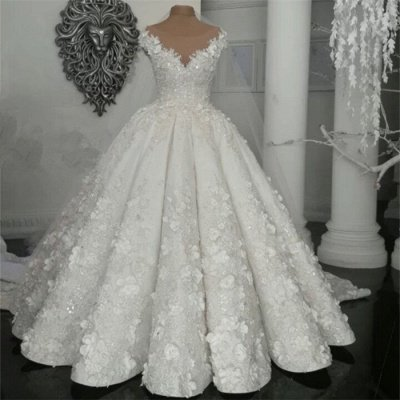 Gorgeous Sleeveless Crystal Ball Gown Wedding Dresses  with Handmade Flowers_3