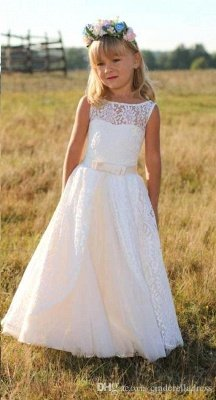 Sweet Floor Length Lace White Flower Girl Dresses with Sash